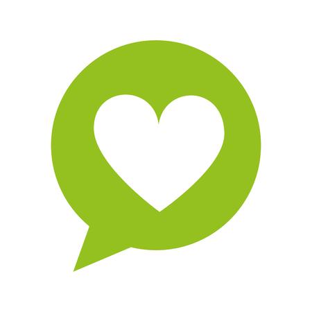 Illustration pour speech bubble dialog box with heart love icon vector illustration - image libre de droit
