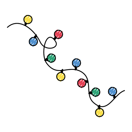 Illustration for Garlands Christmas decorations lights effects design. - Royalty Free Image