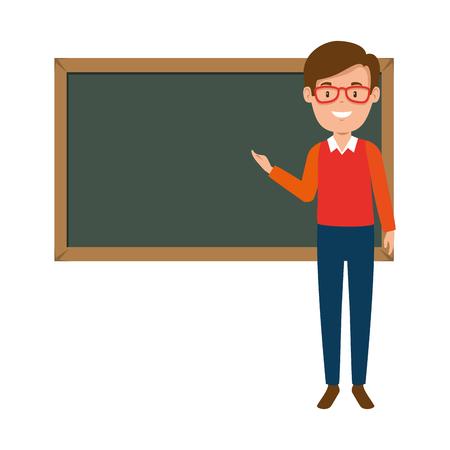 Illustration pour teacher male with chalkboard avatar character vector illustration design - image libre de droit