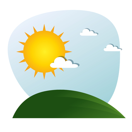 landscape with sun and clouds vector illustration graphic design