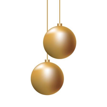 Illustration pour christmas golden balls hanging decoration elegance vector illustration - image libre de droit
