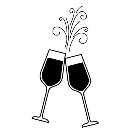 Illustration pour pair of champagne glass cheers drink sparkles christmas vector illustration - image libre de droit