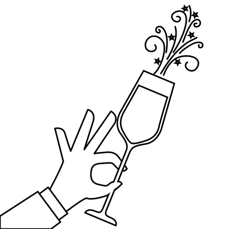 hand holding champagne glass cheers celebration vector illustration