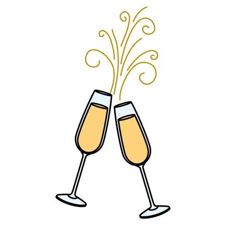 Illustration pour pair of champagne glass cheers drink sparkles vector illustration - image libre de droit