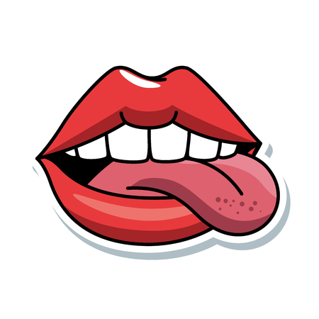 pop art lips with tongue out vector illustration design