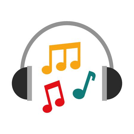 Illustration pour headphones note music sound harmony vector illustration - image libre de droit