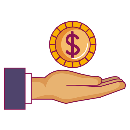 Ilustración de hand with coin money vector illustration design - Imagen libre de derechos