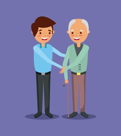 Illustrazione per young man with old man holding hand help together vector illustration - Immagini Royalty Free