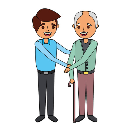 young man and old man together family vector illustration
