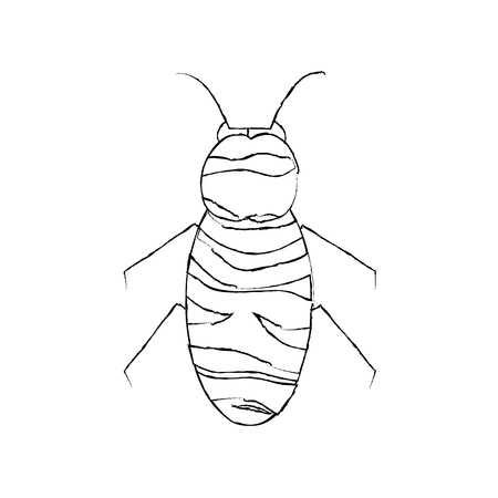 bee icon honey flying insect animal garden vector illustration