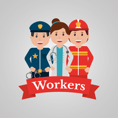 Workers group people, profession employee. Cartoon banner, vector illustration.