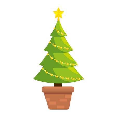 Illustrazione per christmas tree isolated icon vector illustration design - Immagini Royalty Free
