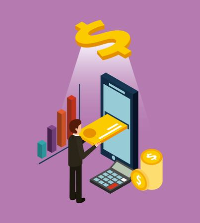 Ilustración de businessman inserting credit card on mobile ecommerce digital isometric vector illustration - Imagen libre de derechos