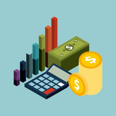 Ilustración de money isometric concept banknote coins calculator and financial graph vector illustration - Imagen libre de derechos