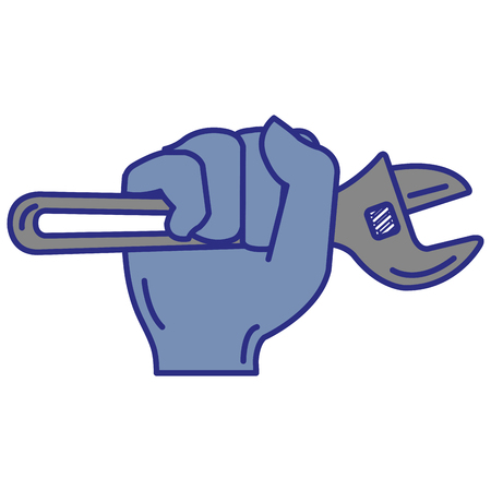 Hand with wrench tool isolated icon vector illustration design