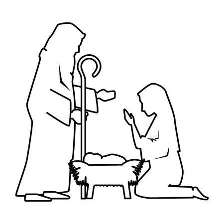Illustration pour Holy family silhouette christmas characters illustration design - image libre de droit
