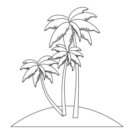 tropical palm trees scene vector illustration design