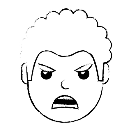 young man face angry expression cartoon vector illustration