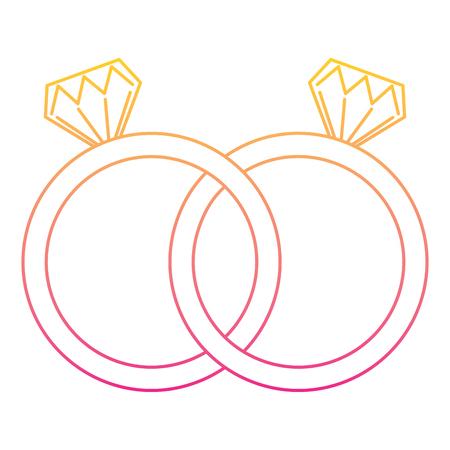 Photo pour Wedding rings jewelry diamonds unity. Vector illustration line color. - image libre de droit