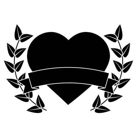 Heart cartoon emblem with laurel wreath valentines day icon image. Vector illustration design black and white.