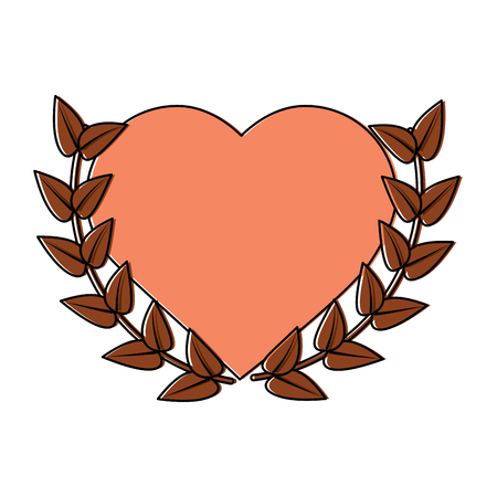 heart cartoon emblem with laurel wreath valentines day icon image vector illustration design