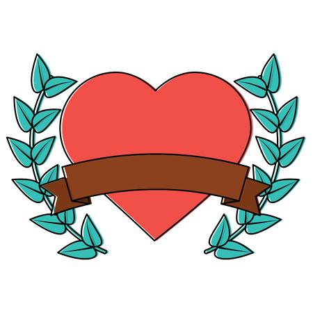 Heart cartoon emblem with laurel wreath valentines day icon image. Vector illustration design.