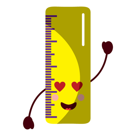 Illustration pour ruler  heart eyes school supplies kawaii icon image vector illustration design  - image libre de droit