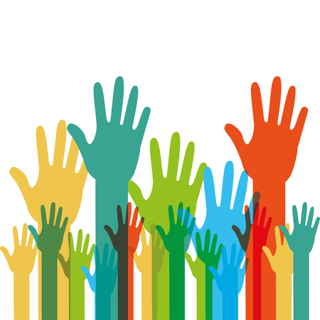 Illustration for Human hands raised with different colors vector illustration. - Royalty Free Image
