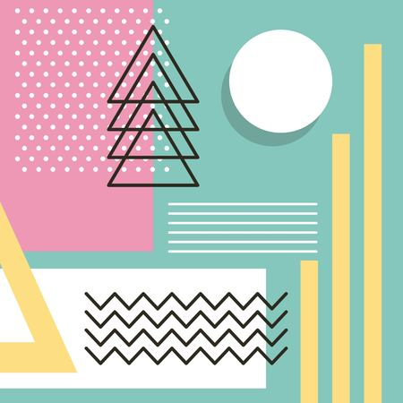 Ilustración de memphis style pattern repeating geometric shape pastel color vector illustration - Imagen libre de derechos