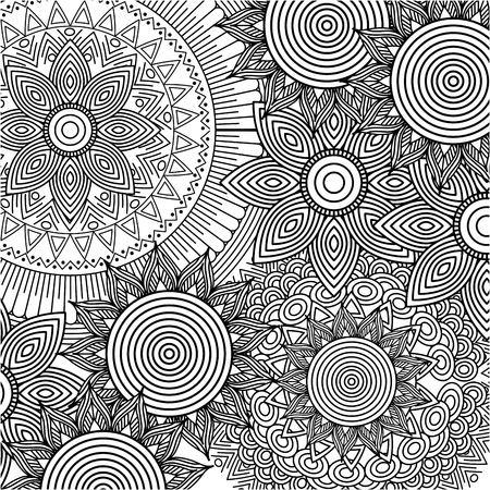 Illustration pour seamless pattern floral round abstract vintage decorative element background adult coloring vector illustration - image libre de droit