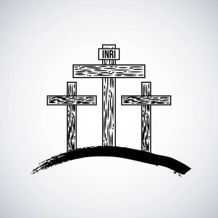 hand drawn mountain with three crosses catholic symbol vector illustrationの素材 [FY31093725261]