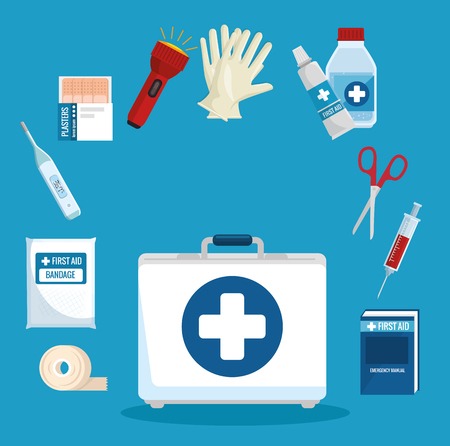 Illustration pour emergency first aid icons vector illustration design - image libre de droit
