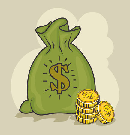 Illustration pour A money bag and coins over light background vector illustration - image libre de droit