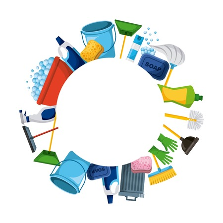 Illustration pour spring cleaning supplies round frame tools of housecleaning background vector illustration - image libre de droit