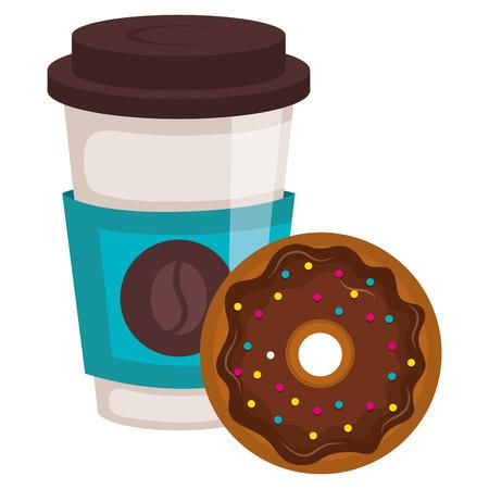 Ilustración de coffee in plastic cup with donut vector illustration design - Imagen libre de derechos