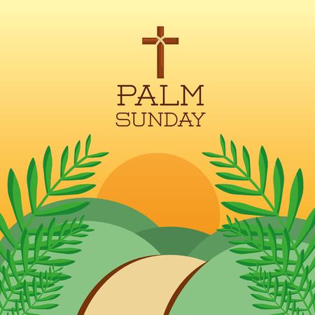 Illustration for palm sunday cross hills sun branch card decoration vector illustration - Royalty Free Image