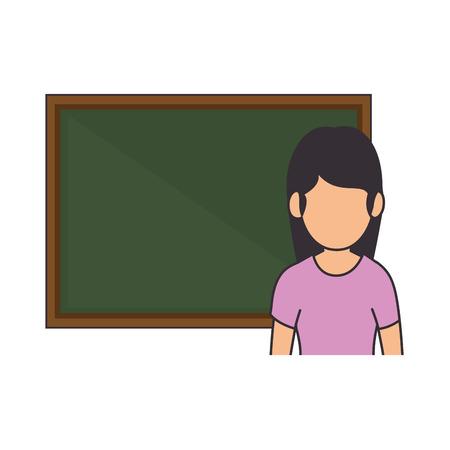 teacher woman with chalkboard avatar vector illustration design