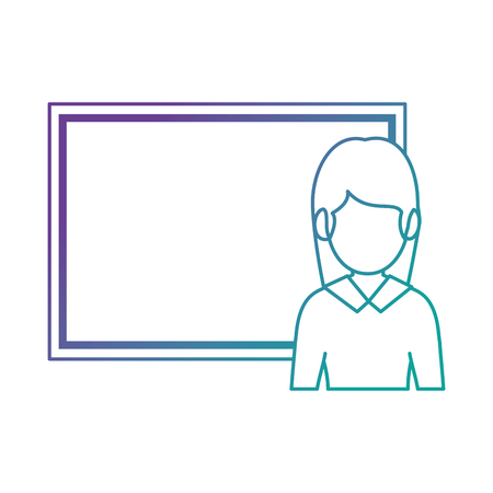teacher woman with chalkboard avatar vector illustration design