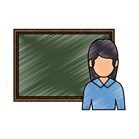 Teacher woman with chalkboard. Avatar vector illustration design.