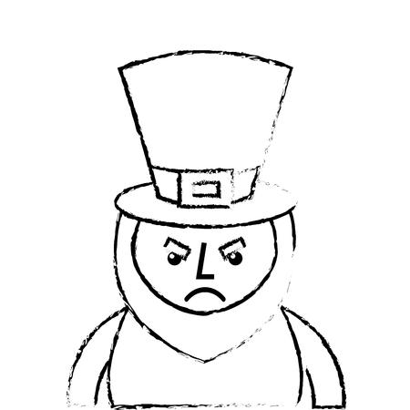 st. patricks day portrait of a angry leprechaun vector illustration sketch image design