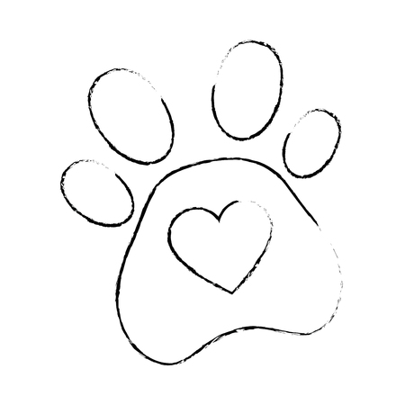 Illustration for dog footprint with heart vector illustration design - Royalty Free Image