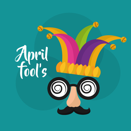 Illustration for April fools mask mustache silly glasses and hat vector illustration - Royalty Free Image