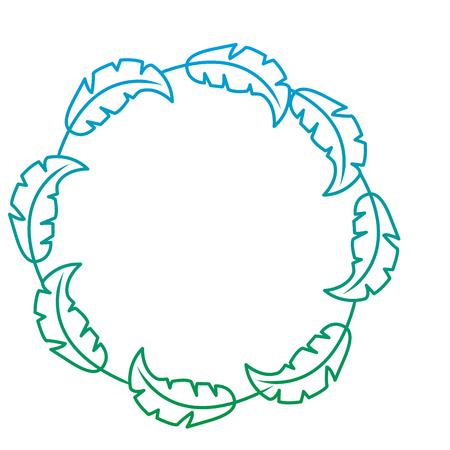 wreath tropical flora natural decoration ornament vector illustration green color line image