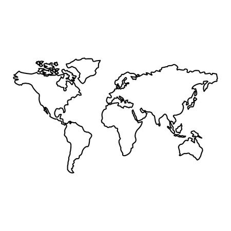 Illustration pour map of the world with countries continent vector illustration outline design - image libre de droit