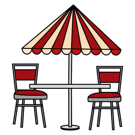 Illustration pour restaurant table with parasol and chairs vector illustration design - image libre de droit