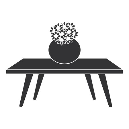 Illustration pour living room table with cute vase and flowers decorative vector illustration design - image libre de droit