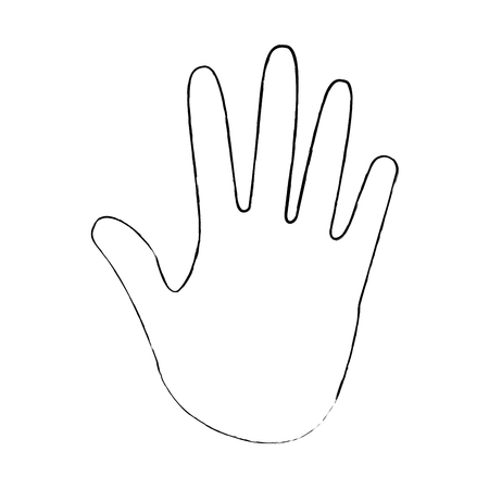 human hand showing five fingers open vector illustration