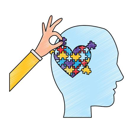 Illustration pour head profile with puzzle heart autism awareness vector illustration drawing color design - image libre de droit