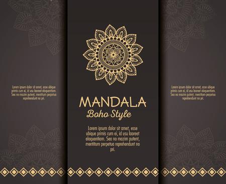 Ilustración de golden mandala boho style flyers vector illustration design - Imagen libre de derechos