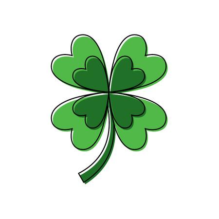 Illustration pour four leaf clover good luck symbol vector illustration - image libre de droit